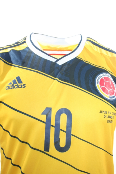 Adidas Columbia jersey 10 James Rodriguez WC 2014 home yellow men's S or M