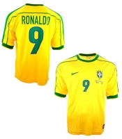 Nike Brazil jersey 1998 9 Ronaldo el fenomeno yellow home men's S/M/L/XL or XXL